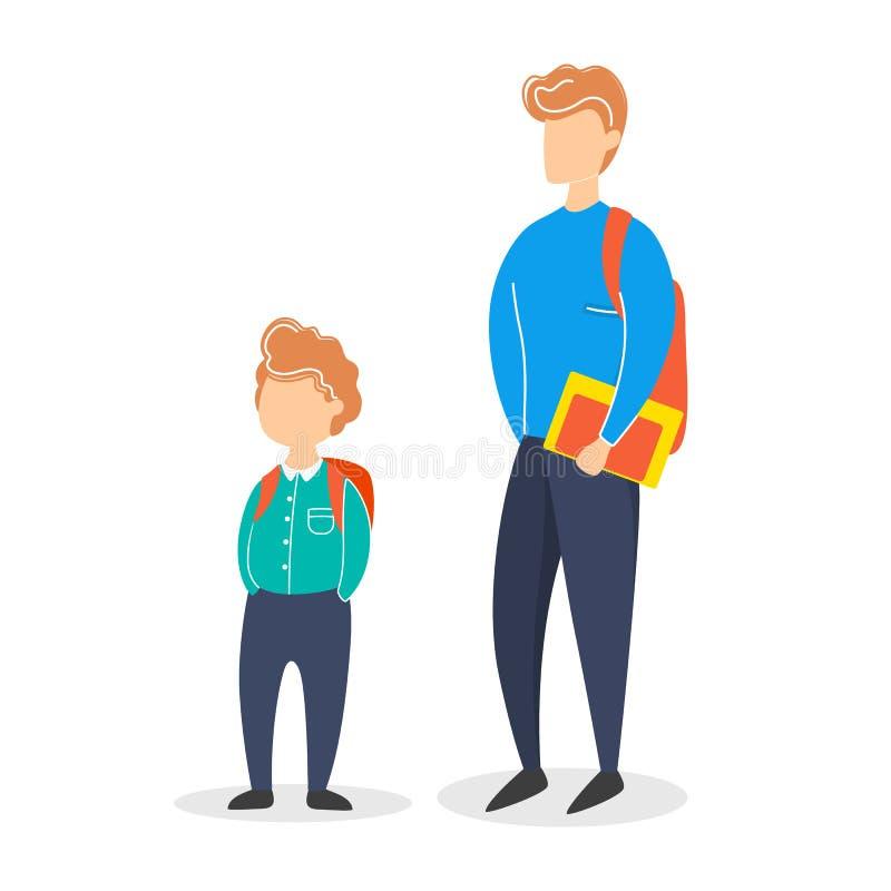 Немногое ребенок и предназначенное для подростков положение мальчика Мужск человек иллюстрация штока