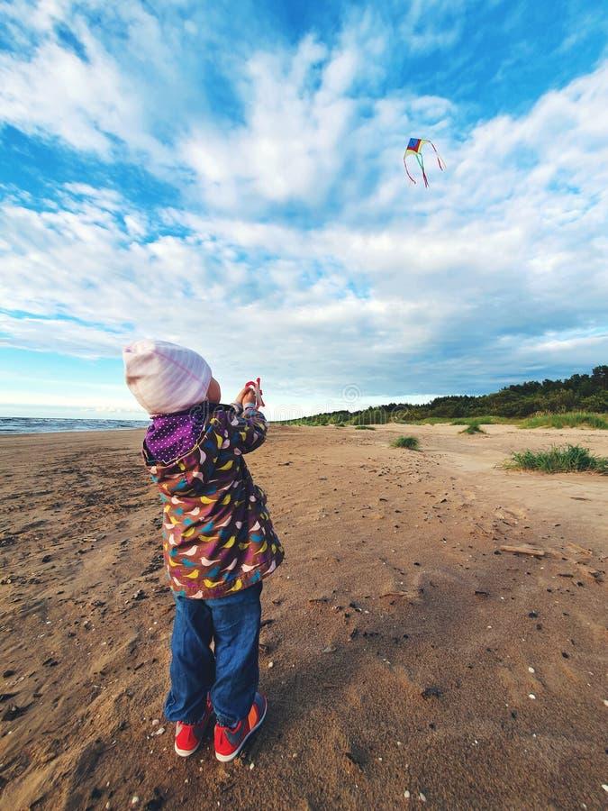 Немногое ребенок летая змей в небе на пляже стоковое фото