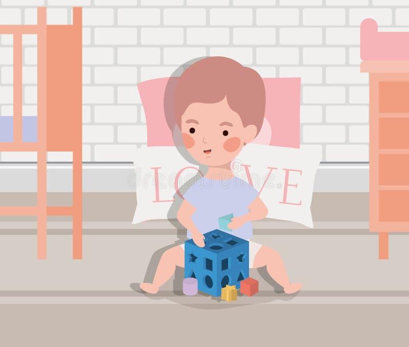 Немногое ребенок с блоками забавляется иллюстрация вектора