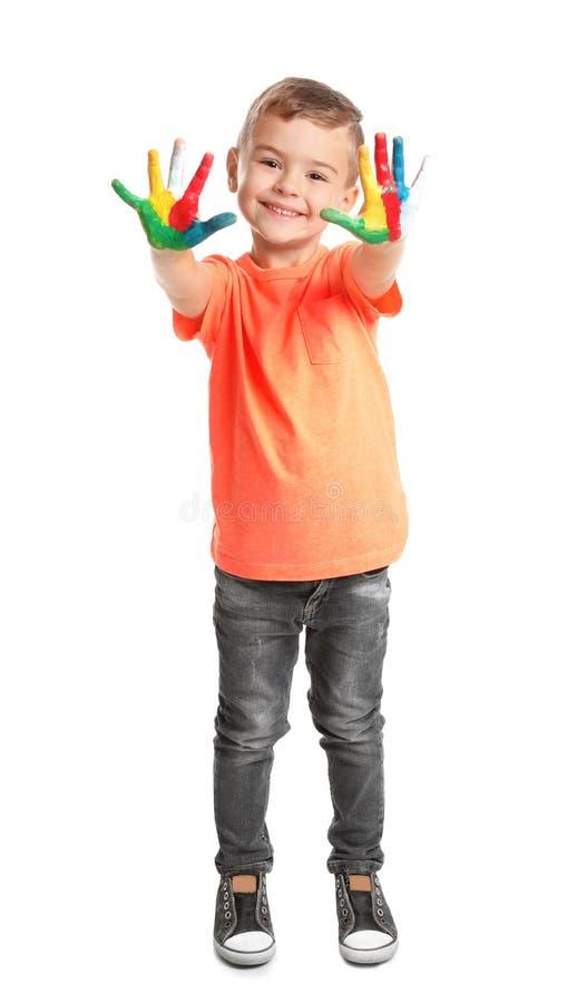 Немногое ребенок с покрашенными руками стоковые фотографии rf