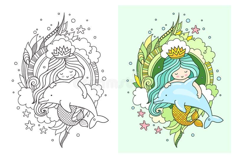 Немногое русалка kawaii с дельфином Милые персонажи из мультфильма Печать, открытка, плакат, страница для книжка-раскраски иллюстрация вектора
