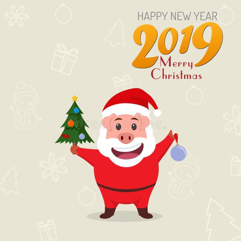 Немногое смешная свинья в костюме Санта Клауса китайское Новый Год Год свиньи иллюстрация вектора