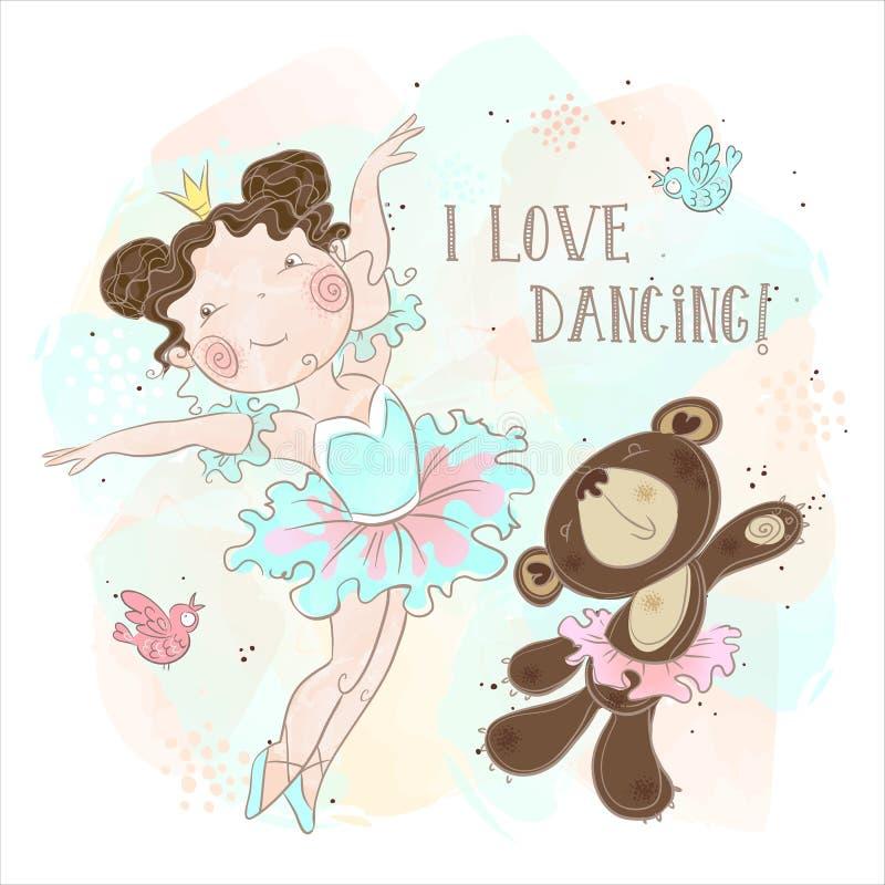 Немногое танцы девушки балерины с медведем Я люблю станцевать Надпись r бесплатная иллюстрация