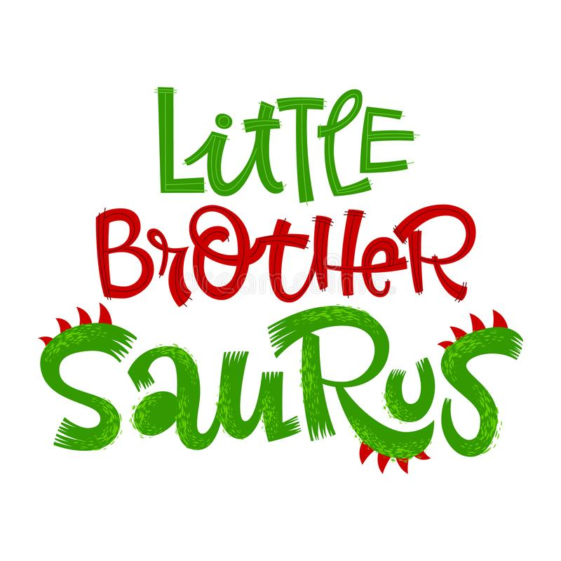 Немногое цитата Saurus брата Логотип вектора литерности стиля динозавра потехи handdrawn иллюстрация штока
