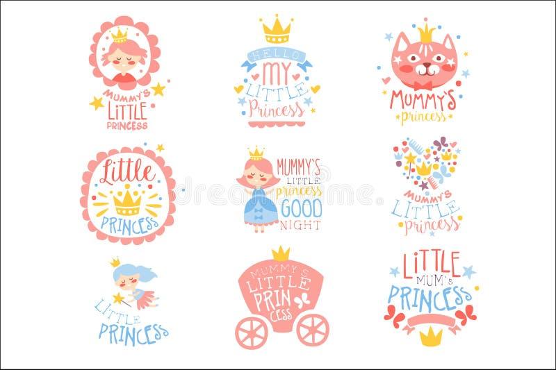 Немногое шаблоны дизайна комнаты или одежды девушек Печати Для принцессы Устанавливать младенческие в пинке и голубом цвете иллюстрация вектора