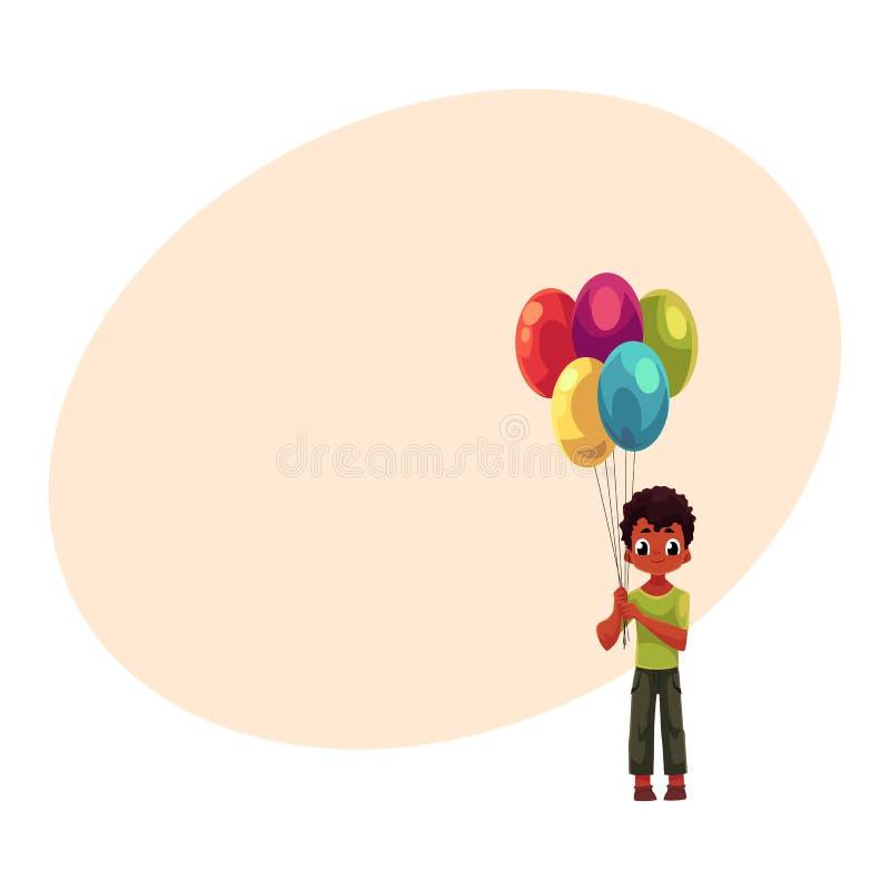 Немного почерните, Афро-американский мальчик держа пук воздушных шаров дня рождения иллюстрация штока