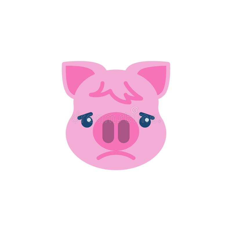 Немножко хмуриться значок Emoji Piggy стороны плоский иллюстрация штока