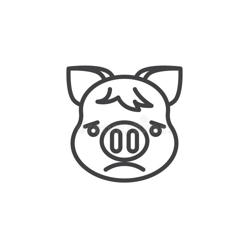 Немножко хмуриться Piggy линия значок Emoji стороны иллюстрация штока