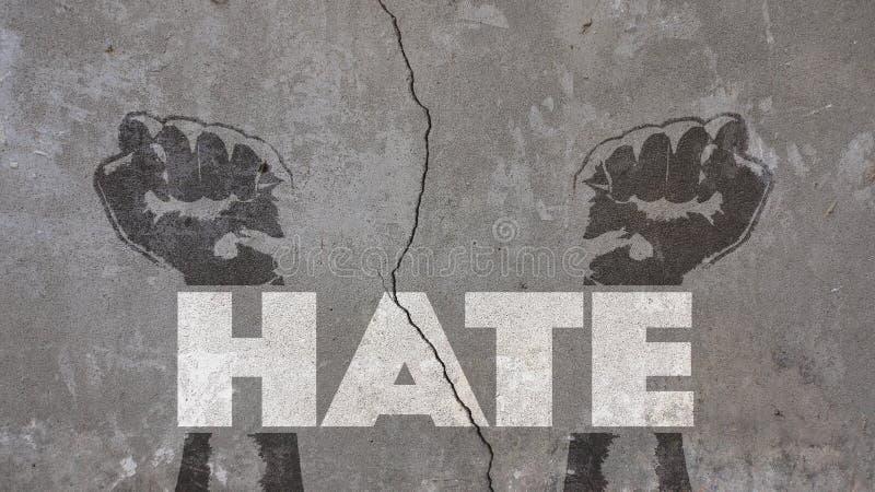 Ненависть написанная на треснутой стене стоковое изображение