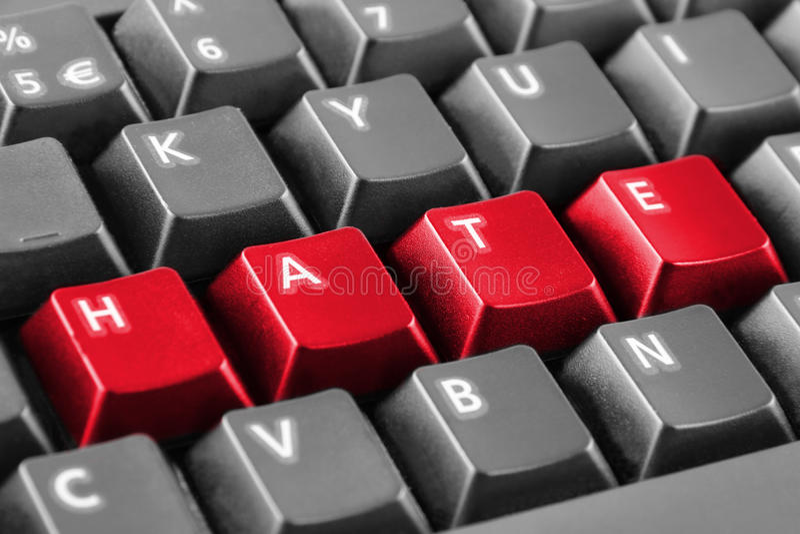 Ненависть слова написанная с кнопками клавиатуры стоковое фото