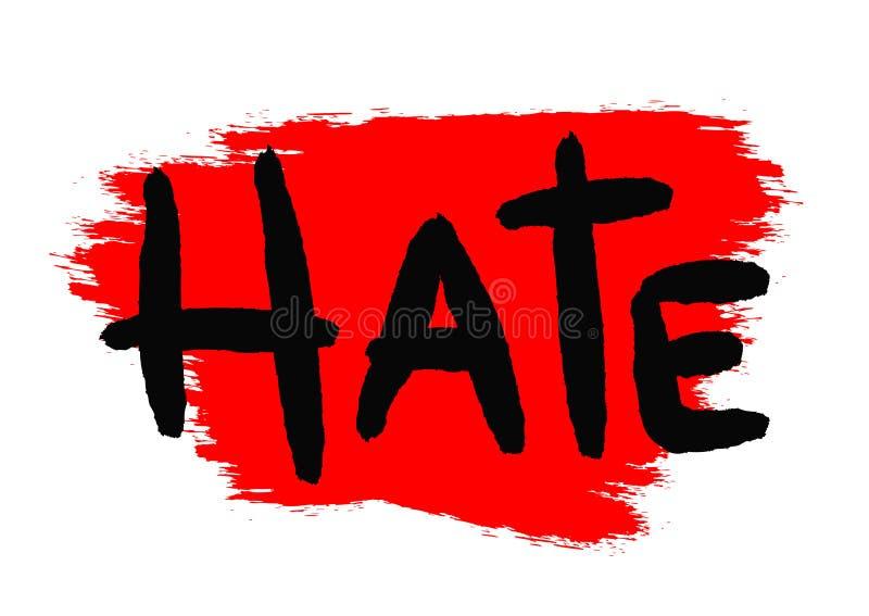 Ненависть текста написана вручную с грубой щеткой Brushstroke предпосылки иллюстрация штока