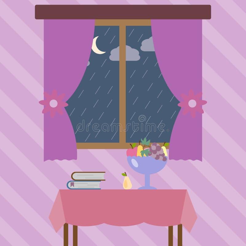 Ненастная погода вне окна Элемент покрашенной иллюстрации осени для передвижных apps концепции и сети Детальная ненастная погода  бесплатная иллюстрация