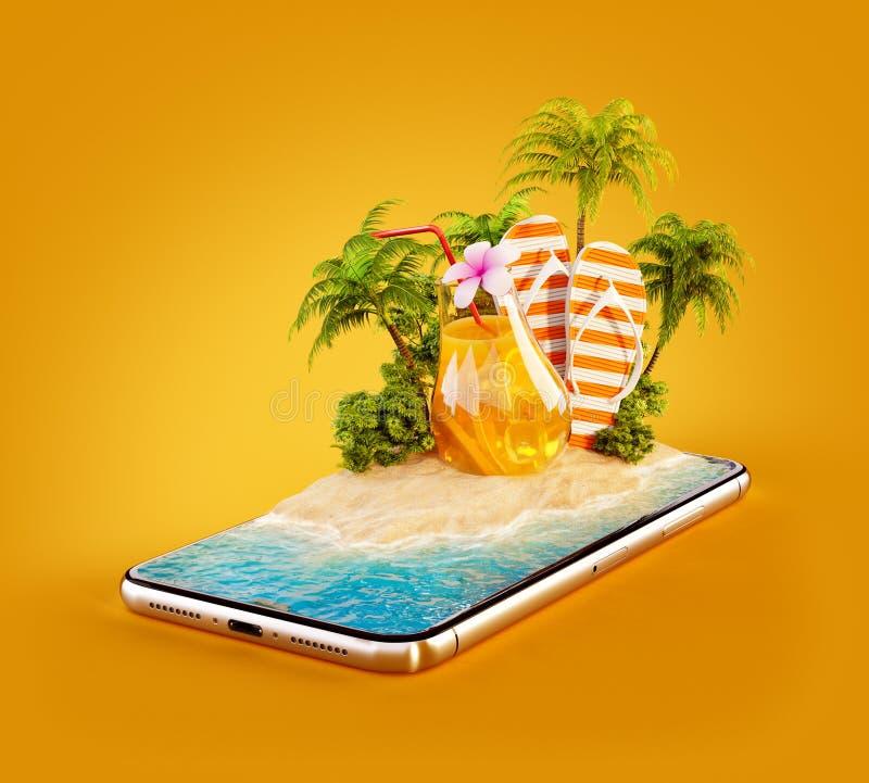 Необыкновенная иллюстрация 3d тропического острова с пальмами, свежим соком и кувырками на экране smartphone иллюстрация штока