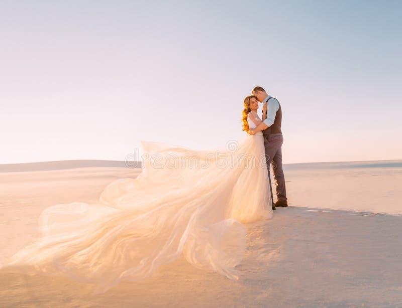 Необыкновенная свадьба в пустыне Девушка в белой тени слоновая кости платья Очень длинный шлейф порхая в ветре Любить стоковые изображения rf