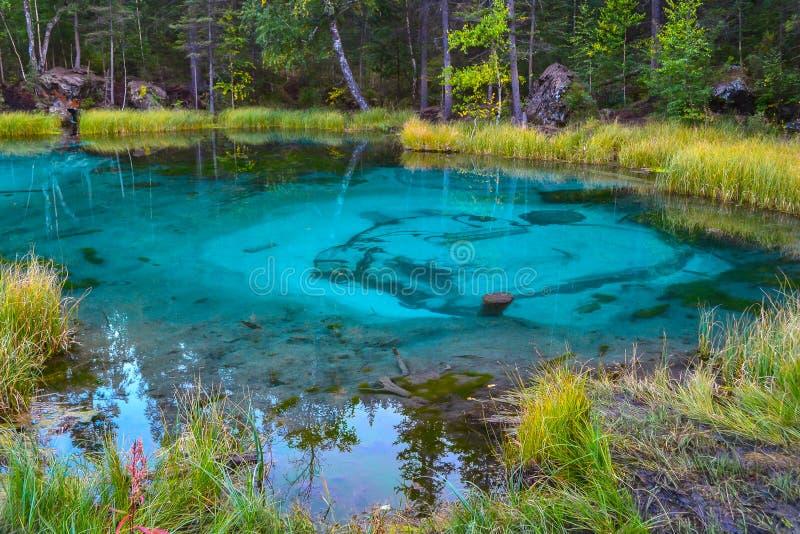 Необыкновенное волшебное и загадочное озеро гейзера цвета бирюзы стоковая фотография rf