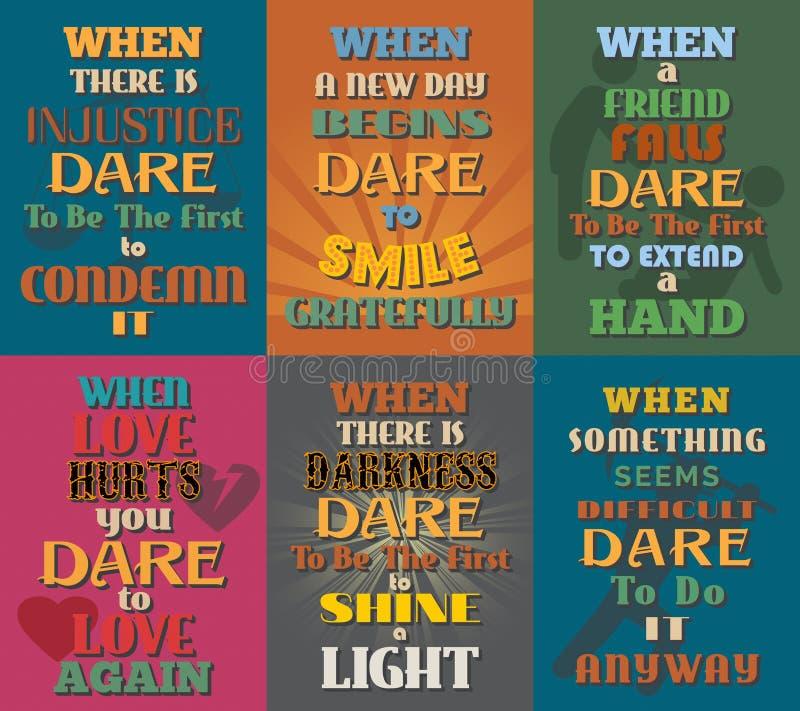 Необыкновенные мотивационные и вдохновляющие плакаты цитат Комплект 10 иллюстрация вектора