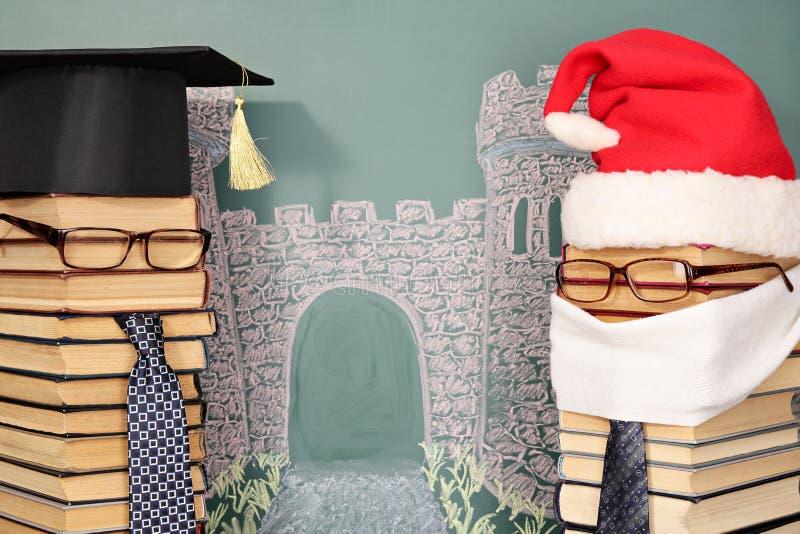 Необыкновенные Санта Клаус и профессор стоковое изображение rf