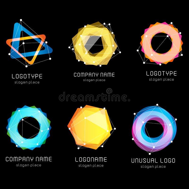 Необыкновенный абстрактный геометрический комплект логотипа вектора форм Циркуляр, полигональное красочное собрание логотипов на  иллюстрация штока