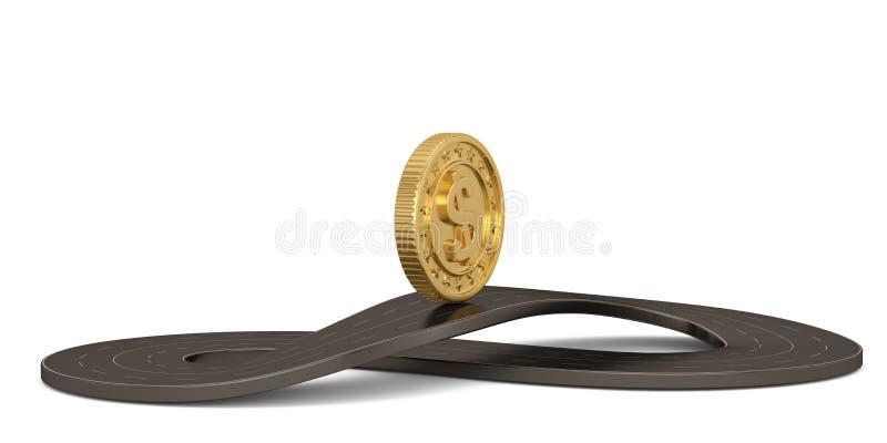 Неограниченная дорога и золотая монета формы символа изолированные на белой предпосылке иллюстрация 3d иллюстрация штока