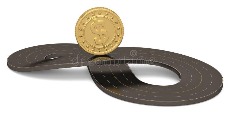 Неограниченная дорога и золотая монета формы символа изолированные на белой предпосылке иллюстрация 3d иллюстрация вектора