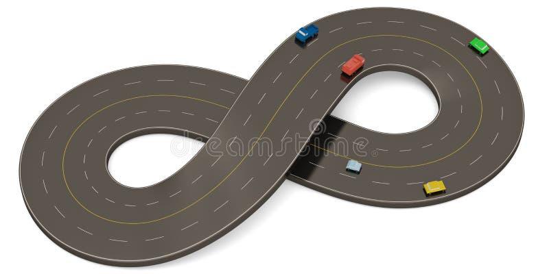 Неограниченная дорога формы символа изолированная на белой предпосылке иллюстрация 3d иллюстрация штока