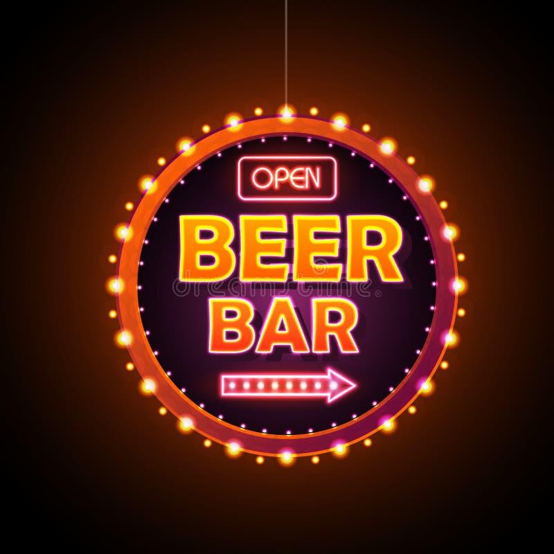 Неоновая вывеска бара пива бесплатная иллюстрация