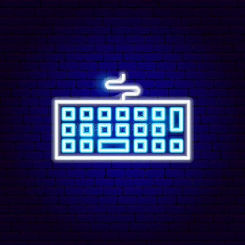 Неоновая вывеска клавиатуры иллюстрация вектора