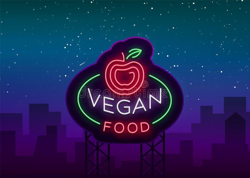 Неоновая вывеска логотипа Vegan, символ vegan, яркий светящий знак, неоновая реклама ночи на еде темы вегетарианской, здоровой иллюстрация штока