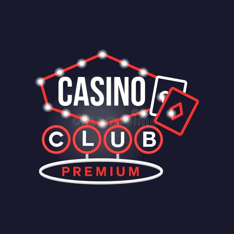 Неоновая вывеска наградного клуба казино ретро, винтажный яркий накаляя шильдик, светлая иллюстрация вектора знамени бесплатная иллюстрация