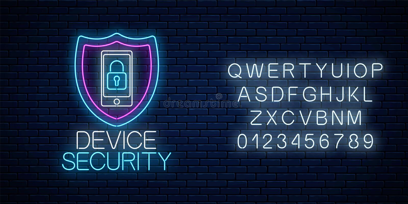 Неоновая вывеска прибора безопасная накаляя с алфавитом Символ безопасностью кибер с экраном и мобильным устройством с замком бесплатная иллюстрация
