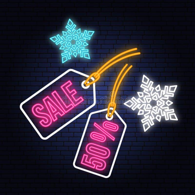 Неоновая вывеска продажи зимы с смертной казнью через повешение и снежинками бирки рождества также вектор иллюстрации притяжки co иллюстрация вектора