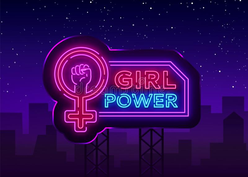 Неоновая вывеска силы девушек Лозунг модного лозунга феминист, неоновый свет знамени стиля, знак ночи яркий вектор иллюстрация вектора
