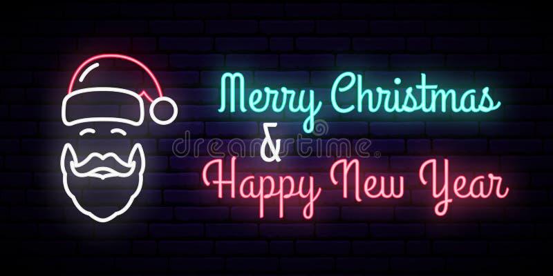 Неоновая вывеска с изображением Санта Клауса и надписи: Веселое рождество & С Новым Годом! иллюстрация штока