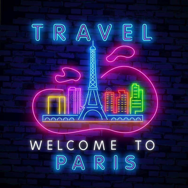 Неоновая вывеска туризма Неон перемещения Неоновая вывеска вектора реалистическая изолированная гостеприимсва к Парижу для украше иллюстрация штока