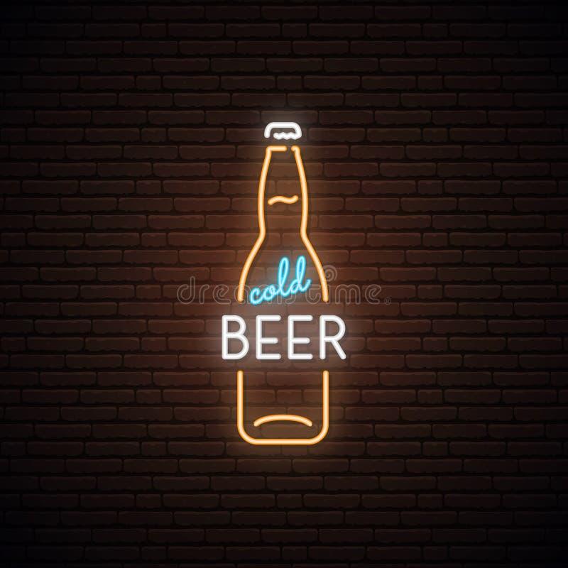 Неоновая вывеска холодного пива иллюстрация штока