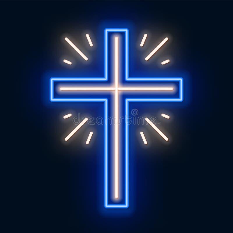 Неоновая вывеска церков перекрестная Накаляя символ распятия бесплатная иллюстрация
