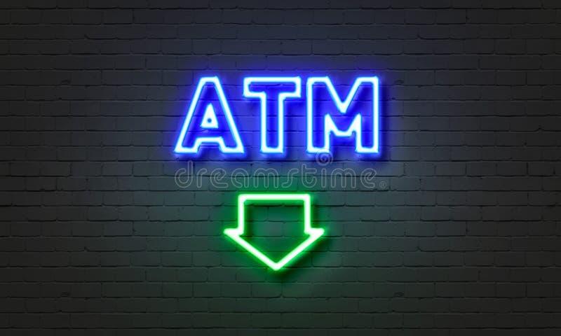 Неоновая вывеска ATM на предпосылке кирпичной стены стоковое изображение rf