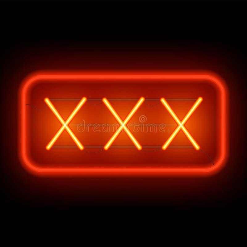 Неоновая вывеска XXX на темной предпосылке бесплатная иллюстрация