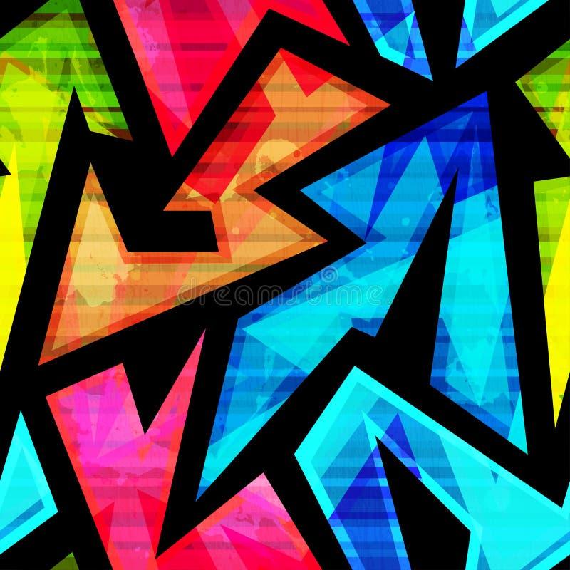 Неоновая геометрическая безшовная картина с влиянием grunge иллюстрация вектора