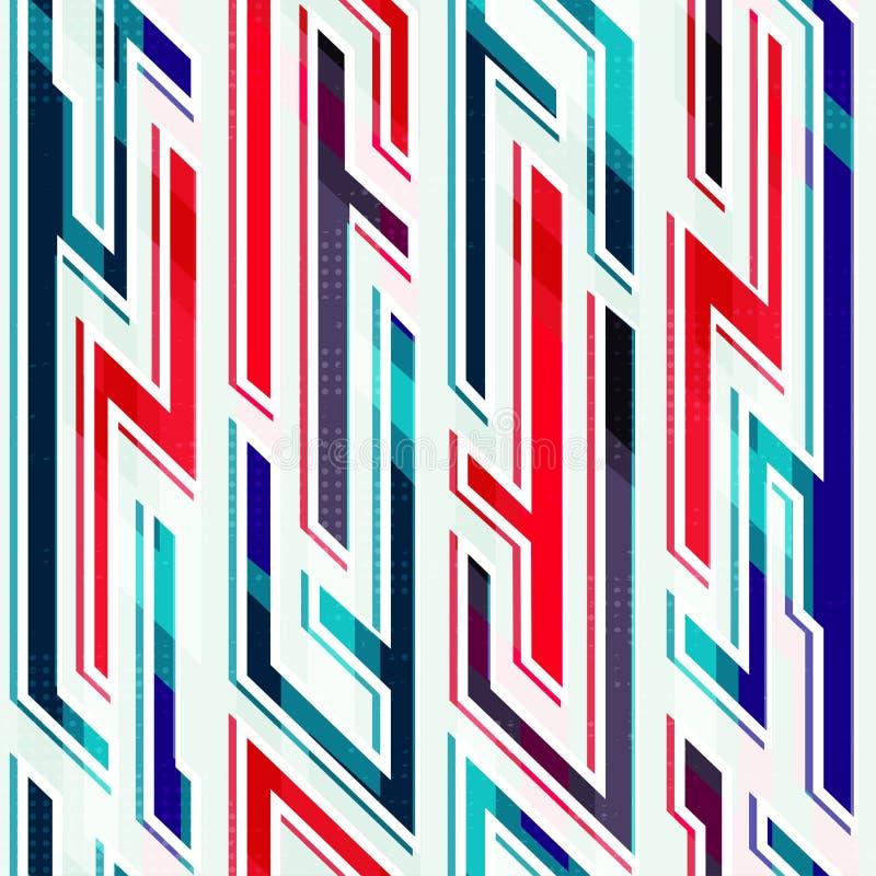 Неоновая геометрическая безшовная картина иллюстрация вектора