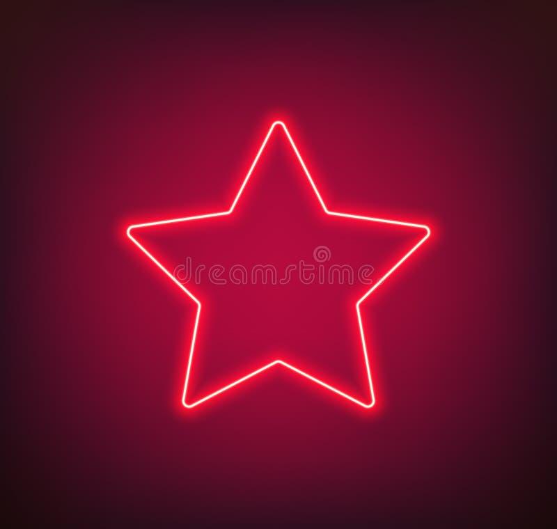 Неоновая звезда иллюстрация штока