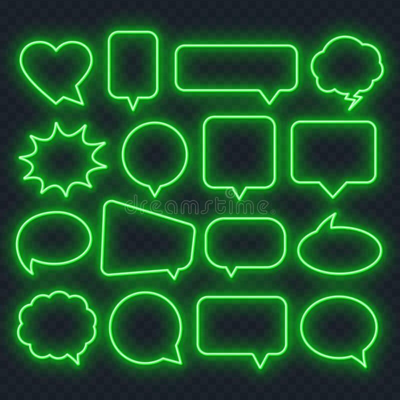 Неоновая зеленая рамка пузыря речи на прозрачной предпосылке Яркие светлые рамки для цитат и текста иллюстрация штока