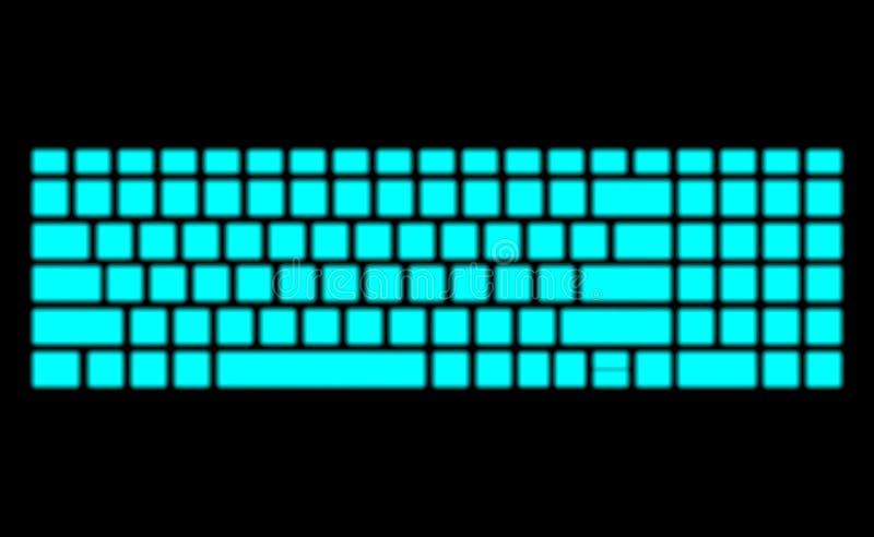 Неоновая клавиатура на черной предпосылке Современный дневной дизайн для знамени Иллюстрация искусства освещения темного вектора  иллюстрация штока