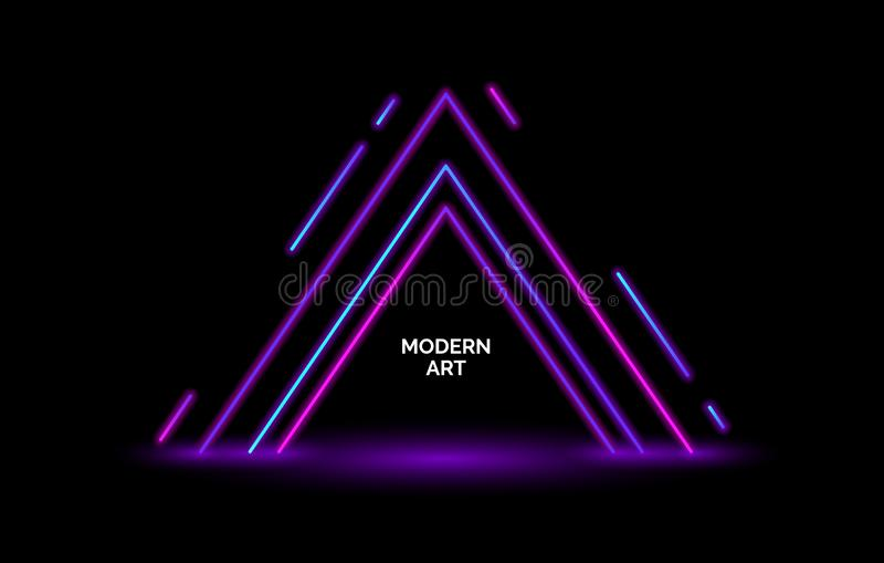 Неоновая предпосылка элементов треугольника градиента, знамя для представления, приземляясь страница, вебсайт бесплатная иллюстрация