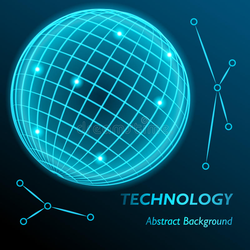 Неоновая предпосылка глобуса решетки Сфера с современным неоновым заревом также вектор иллюстрации притяжки corel иллюстрация штока