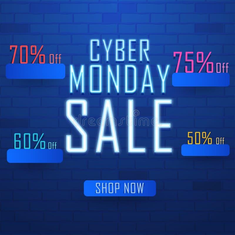 Неоновая продажа понедельника кибер текста с различной скидкой предлагает на sh бесплатная иллюстрация