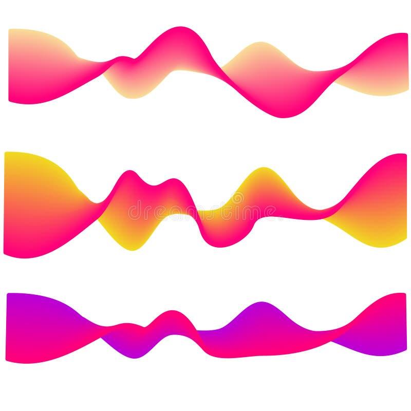 Неоновая пропуская волна формы конспекта градиента изолированные на белизне вектор комплекта сердец шаржа приполюсный иллюстрация штока