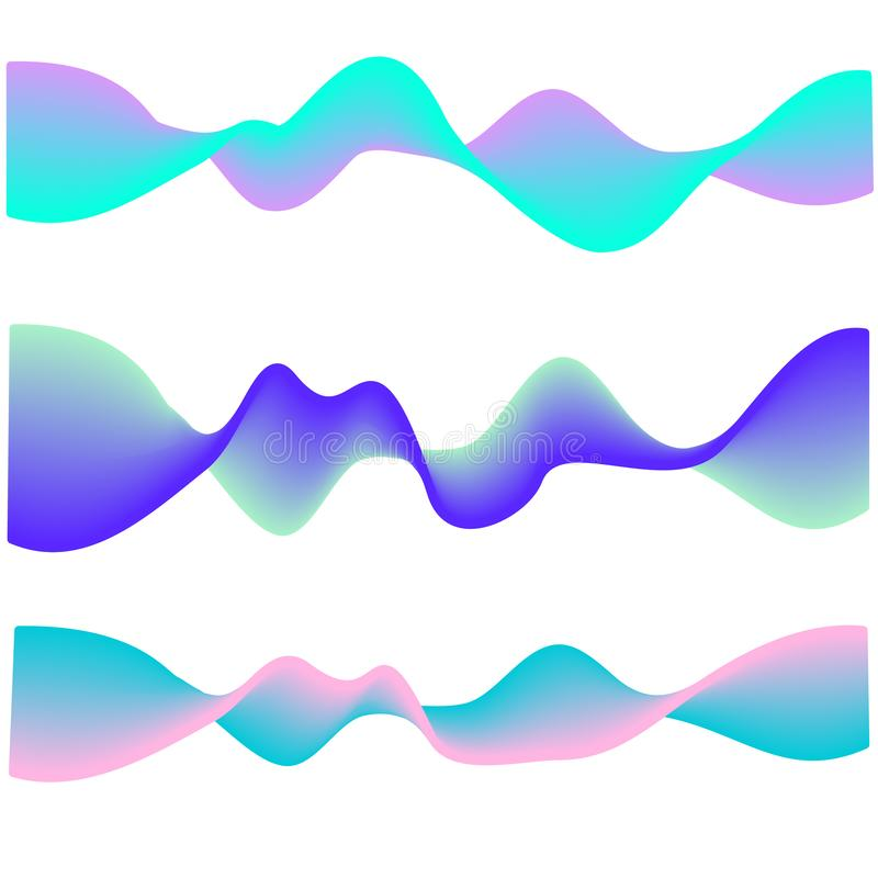 Неоновая пропуская волна Холодные покрашенные формы конспекта градиента изолированные на белизне вектор комплекта сердец шаржа пр иллюстрация штока