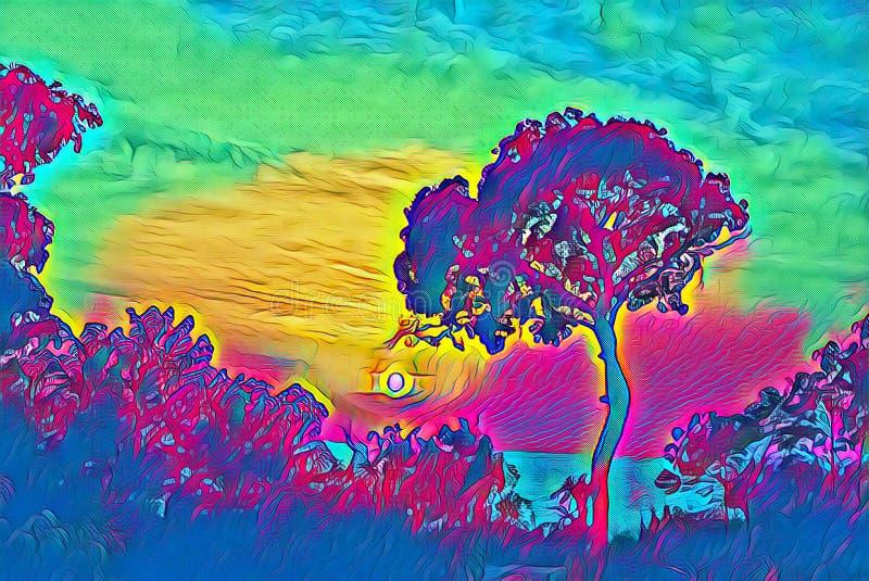 Неоновое небо захода солнца с иллюстрацией силуэта дерева цифровой Карточка перемещения тропического захода солнца психоделическа иллюстрация вектора