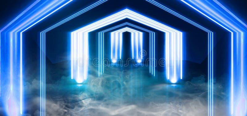 Неоновое свето тоннеля, подземный проход Абстрактная предпосылка с линиями и заревом бесплатная иллюстрация